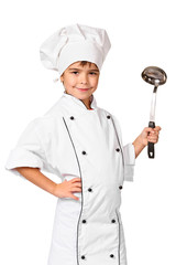Little child chef with ladle