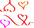 heart set vector illustration in abstract ribbon