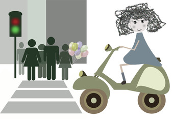 bambina in motocicletta