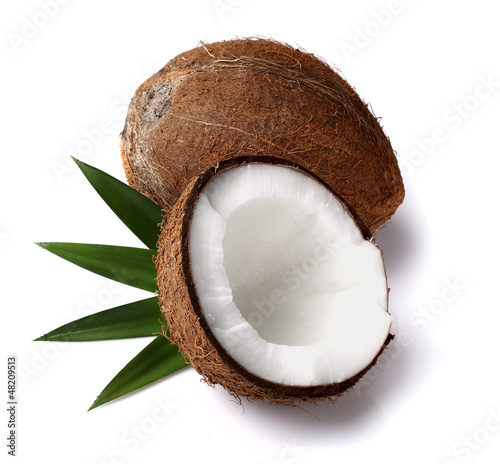 Fresh coconut with leaves