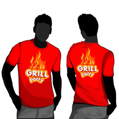 T-shirt men back and front grill motive
