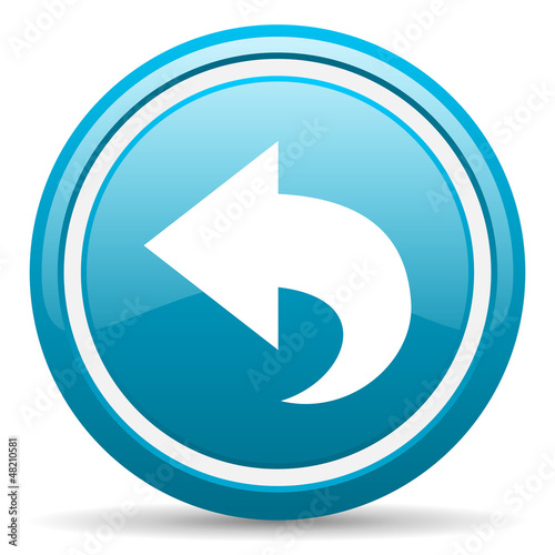 back blue glossy icon on white background