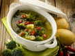soup with broccoli and potatoes, vegatarian food