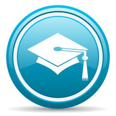 graduation blue glossy icon on white background