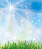 Fototapety Vector of spring background, sky and grass.
