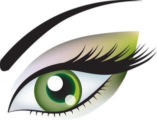 Зеленый глаз с макияжем