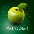 Back to school, apple on desk, vector Eps10 illustration.