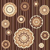 Seamless pattern with abstract flowers in brown