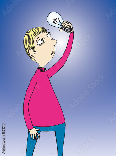 Man holding lamp. Cartoon