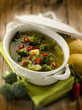 soup with broccoli and potatoes, selective focus