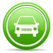 car green glossy icon on white background