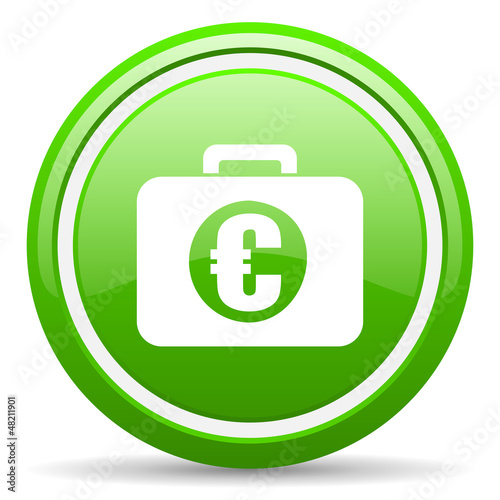 financial green glossy icon on white background
