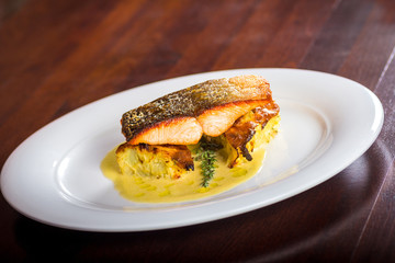 salmon fillet on a cauliflower gratin