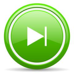 next green glossy icon on white background