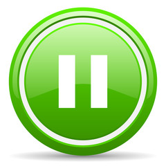 pause green glossy icon on white background