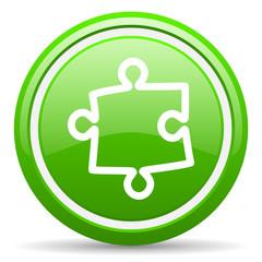eye green glossy icon on white background