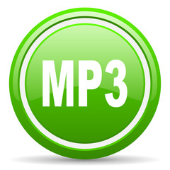 mp3 green glossy icon on white background
