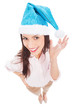 Attractive woman in Santa hat
