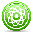 atom green glossy icon on white background