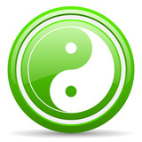 ying yang green glossy icon on white background
