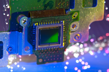 CCD sensor on a card of digital camera