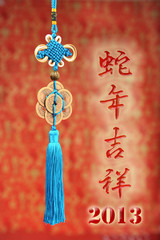 Chinese calligraphy mean happy the snake of year,