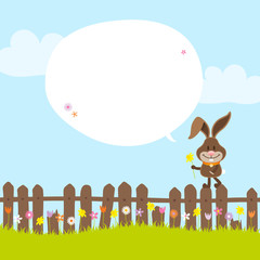 Bunny on Fence Holding Daffodil Speech Bubble