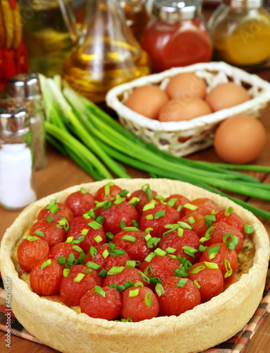Fish pie and cherry tomatoes