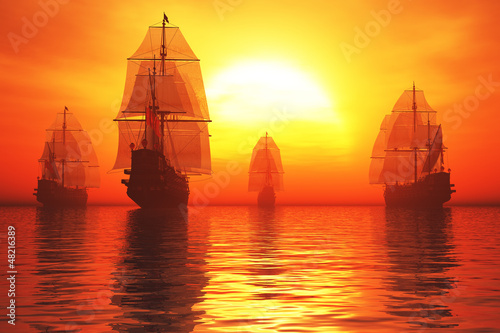 Old Battleship Fleet in the Sea in the Sunset Sunrise 3D render