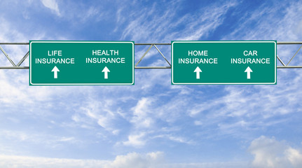 Road sign tolife, health,home,car insurance