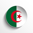 Algeria Flag Paper Circle Shadow Button
