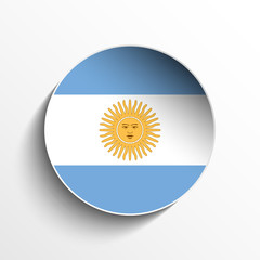 Argentina Flag Paper Circle Shadow Button