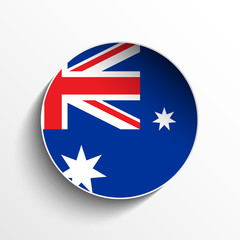 Australia Flag Paper Circle Shadow Button