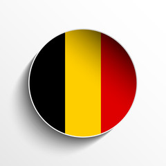 Belgium Flag Paper Circle Shadow Button