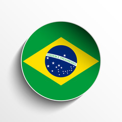 Brazil Flag Paper Circle Shadow Button