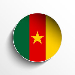 Cameroon Flag Paper Circle Shadow Button