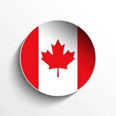 Canada Flag Paper Circle Shadow Button