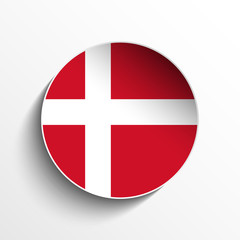 Denmark Flag Paper Circle Shadow Button