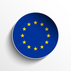 Europe Flag Paper Circle Shadow Button
