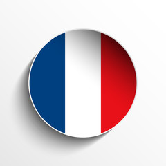 France Flag Paper Circle Shadow Button