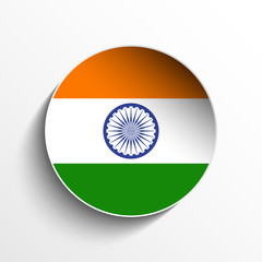 India Flag Paper Circle Shadow Button