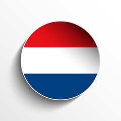 Netherlands Flag Paper Circle Shadow Button