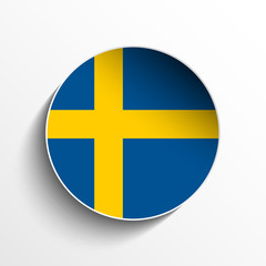 Sweden Flag Paper Circle Shadow Button