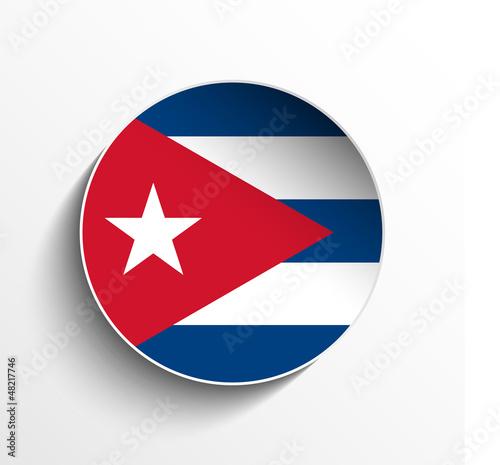 Cuba Flag Paper Circle Shadow Button