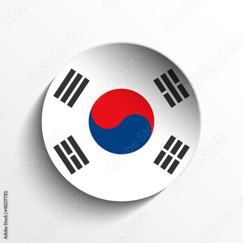 South Korea Flag Paper Circle Shadow Button