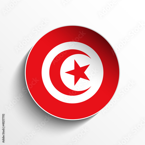 Tunisia Flag Paper Circle Shadow Button
