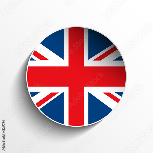 UK Flag Paper Circle Shadow Button