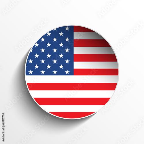 USA Flag Paper Circle Shadow Button