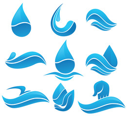 Set of water design elements, signs and icons