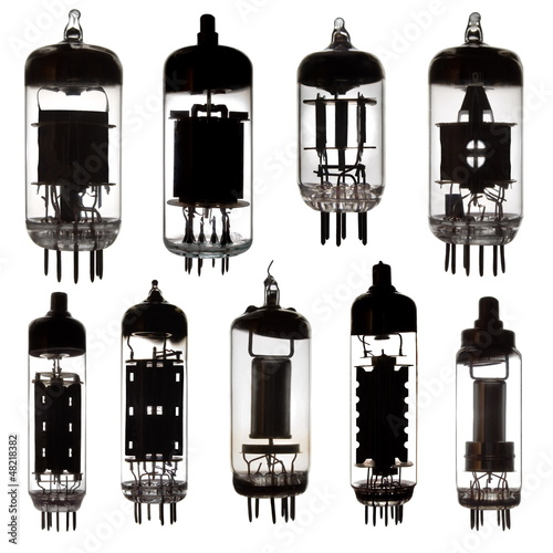 Glass vacuum radio tubes.